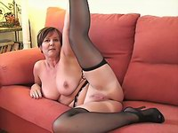 Old lady in black stockings